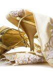 Glamour closeup. Bridal shoes and gloves closeup isolated (glamour Royalty Free Stock Image