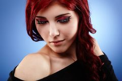 Glamour closeup of sensual young girl Royalty Free Stock Photography