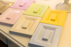 Glamour drawers. Glamour multicoloured wooden drawers samples Stock Photography
