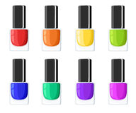 Glamour elegance manicure illustration Nail polish colors spilling out of bottles. Vector templates for cosmetic products. Glamour elegance manicure Stock Image