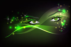 Glamour eyes. Dark background with beautiful green glamour shining sparked eyes vector illustration