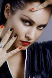Glamour face and nails Stock Images