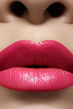 Glamour fashion bright pink lips glossy make-up Royalty Free Stock Photos