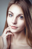 Glamour Fashion Clean Skin Portrait of Beautiful Young Woman Stock Images
