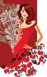 Glamour fashion girl in red dress on red background Stock Photos