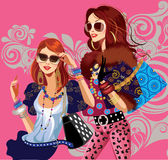 Glamour fashion girls on a colored background Royalty Free Stock Photography