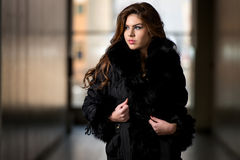 Glamour Fashion Model Wearing Black Winter Jacket Stock Photography