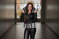 Glamour Fashion Model Wearing Black Winter Jacket Royalty Free Stock Photos