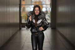 Glamour Fashion Model Wearing Black Winter Jacket Royalty Free Stock Images