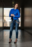 Glamour Fashion Model Wearing Blue Leather Jacket Royalty Free Stock Image