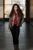 Glamour Fashion Model Wearing Brown Winter Jacket Stock Photography