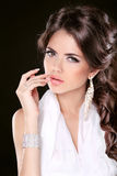 Glamour Fashion Woman Portrait Of Beautiful brunette with long h Stock Images