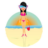 Glamour fashionable beach girl. Royalty Free Stock Photos