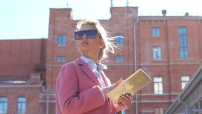 Glamour female enjoying the city. Girl admires with sights stock video footage