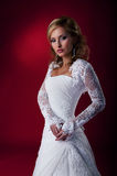 Glamour fiancee in white wedding dress. Royalty Free Stock Image