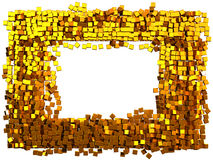 Glamour frame made from gold cubes. Clipping path added Stock Image