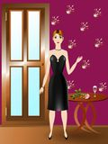 Glamour girl. A girl stands at the door in the room Stock Photography