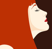Glamour girl. Vector woman abstract face on red background Royalty Free Stock Photography