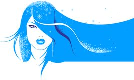 Glamour girl. With snowflakes in hair vector illustration