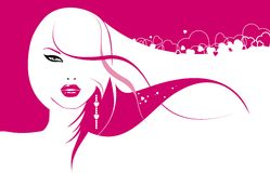 Glamour girl. With hearts in hair vector illustration