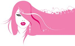 Glamour girl. With hearts in hair royalty free illustration