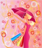 Glamour girl. Under umbrella in pink Stock Photo