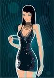 Glamour girl. Beauty girl, black elegant dress Royalty Free Stock Image