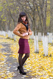 Glamour girl in the autumn Stock Photo