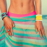 Glamour girl in beach look and accessories trends summer season Stock Image