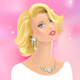 Glamour girl. Beauty modern glamour girl with jewelry  on pink background Stock Photo