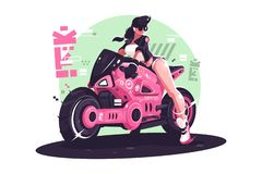 Glamour girl biker riding on motorbike stock photo