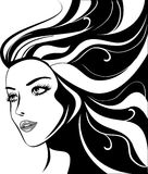 Glamour girl with black hairs Royalty Free Stock Photography