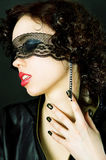 Glamour girl blindfolded lace of Royalty Free Stock Photo