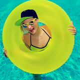 Glamour girl hot party in swimming pool.  Royalty Free Stock Photo