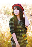 Glamour girl in meadow203. Asian pretty girl live in meadow Royalty Free Stock Images