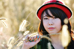 Glamour girl in meadow205. Asian pretty girl live in meadow Stock Images