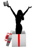Glamour girl model happy celebration gift box Royalty Free Stock Photography