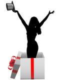 Glamour girl model happy celebration gift box. A glamour girl model with top hat in a happy birthday celebration gift box Royalty Free Stock Photography