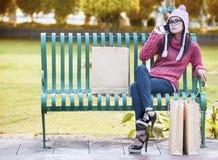 Glamour girl on the park Stock Photos
