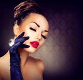 Glamour Girl Portrait. Beauty Fashion Glamour Girl Portrait. Vintage Style Girl Stock Image