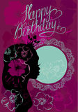 Glamour girl portrait sillouette and lace round frame. Happy Birthday, little Princess card Stock Photos