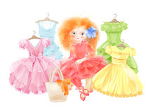 Glamour girl and set of festive dresses. For summer party. Princess style Stock Image