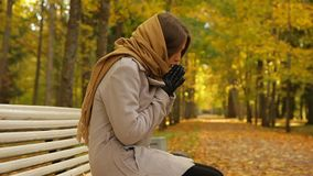 Elegant young woman feels cold while sitting on a bench in autumn park. Glamour girl sits on a wooden bench in a picturesque autumn park, dressed in grey coat stock video footage