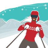 Glamour girl skiing winter sports illustration Royalty Free Stock Image