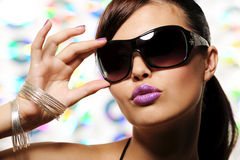 Glamour girl with sunglasses stock image