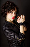 Glamour girl with tied hands lace of Stock Photo