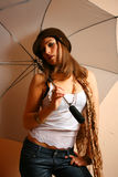 Glamour Girl With Umbrella Stock Photos