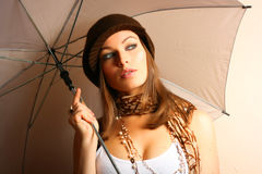 Glamour Girl With Umbrella royalty free stock photos