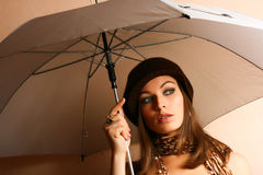 Glamour Girl With Umbrella Stock Images
