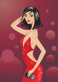 Glamour girl. Vector illustration of  a disco glamour girl Stock Images